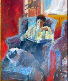 Hilary Reading With Cyrus by Arne Westerman