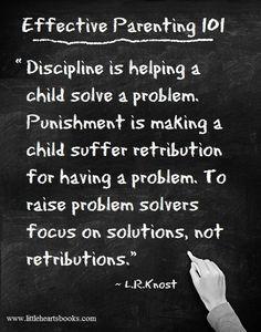 Discipline vs. Punishment <3 ~ L.R.Knost www.littleheartsbooks.com