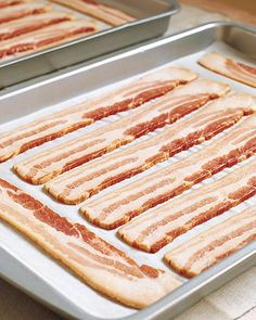 The trick is to put the pan in a cold oven and then switch it on and begin your timer. Im amazed how many people dont know this. Cook bacon in the oven. Cover cookie sheet with tinfoil first. We do 375 for about 20 min instead of 400 for ten because the lower and slower the more fat renders out. I hate getting SPLATTERED!! This works perfect!