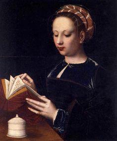 Mary Magdalene (1530).Ambrosius Benson (Italian, c.1495/1500-1550). Oil on oak. Galleria Franchetti, Venice, Italy.