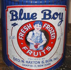 Large Advertising Tin: Blue Boy Fresh Frozen Fruits