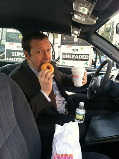Donnie enjoying his coffee on the go.