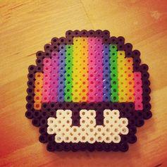 Rainbow mushroom perler bead sprite by sugaredpiglet