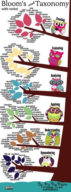 The Bloom's Revised Taxonomy Action Verbs infographic includes some action words that are useful in writing learning objectives.