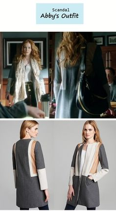 "On the blog: Abby's (Darby Stanchfield) colorblock coat | Scandal - ""Mrs. Smith Goes to Washington"" (Ep. 303) #tvstyle #tvfashion #outfits #fashion"