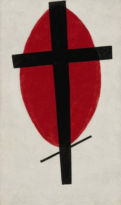 "Kazimir Malevich, ""Mystic Suprematism (Black Cross on Red Oval),"" 1920-22. Property of the Heirs of Kazimir Malevich.COURTESY SOTHEBY'S"