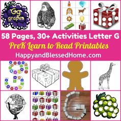 "30+ FREE Preschool Activities with 50+ FREE Printables for Learning to Read Letter ""G"" from www.HappyandBlessedHome.com #FREEPrintables #PreschoolActivities"