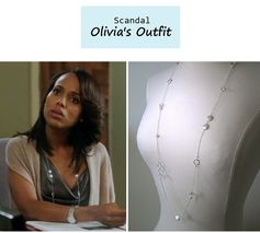 "On the blog: Olivia Pope's (Kerry Washington) strand necklace | ""Say Hello to My Little Friend"" (Ep. 304) #tvstyle #tvfashion #outfits #fashion"