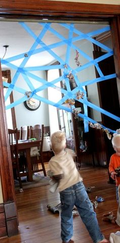 I love this!  An easy indoor game to make that will get kids moving!