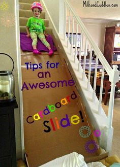 Build a Cardboard Slide on the Stairs! | Milk & Cuddles
