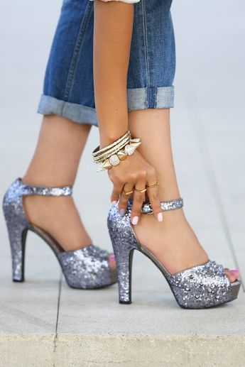 Dreamy Sparkling Silver High Heels <3