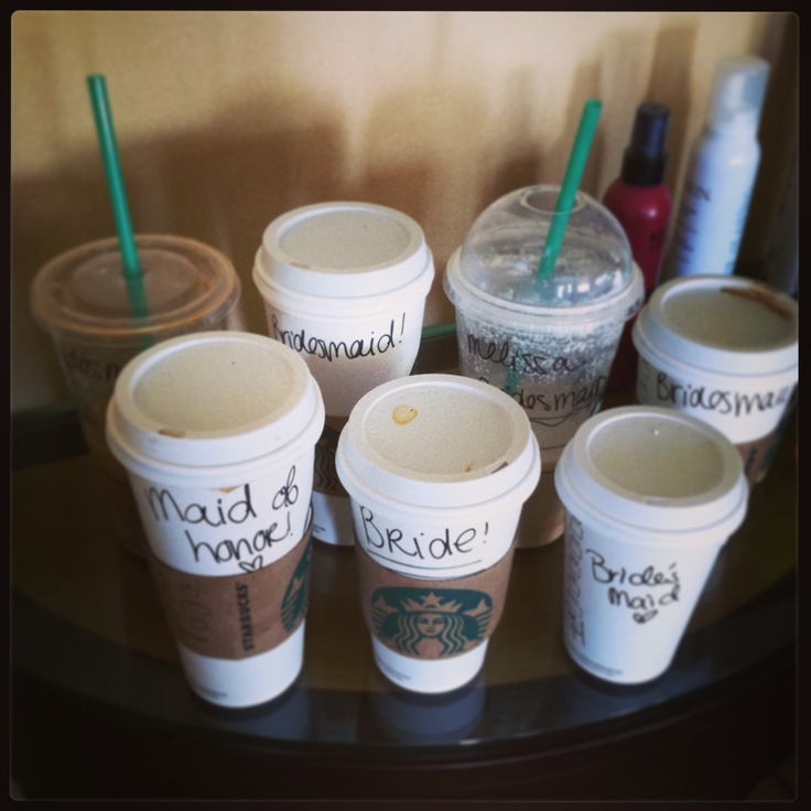 Bride, bridesmaids, matron of honor Starbucks style