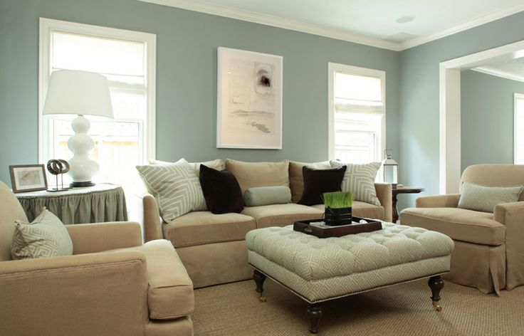 Light Blue & Neutral Living Room with Tufted Greek Key Ottoman on Casters - by Ashley Goforth Design
