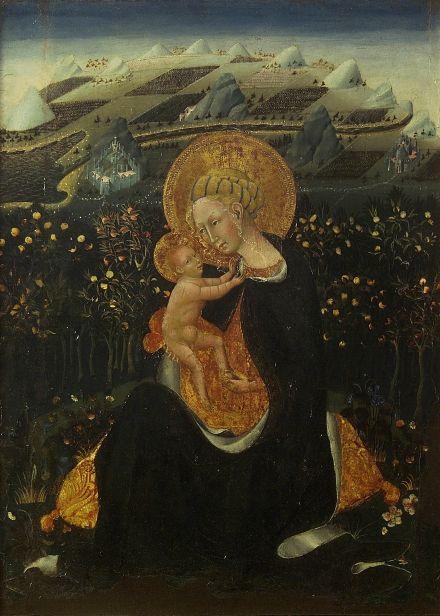 Giovanni di Paolo, La Vierge de l'humilité, c. 1450. Inv. 206, tempera sur panneau (avec encadrement d'origine), 62 x 47,5 cm. Siena, Pinacoteca Nazionale