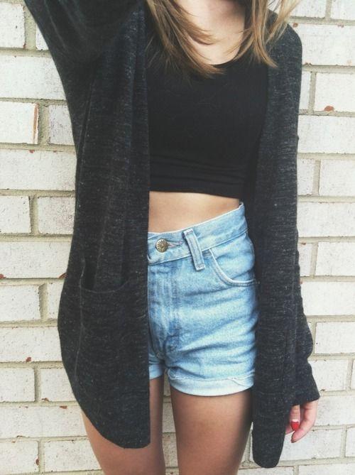 Simple, comfy fashion. Crop top, high waisted denim shorts, cardigan.