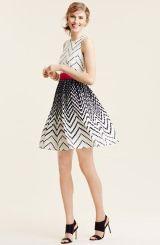 Eliza J Dot Print Crêpe de Chine Fit & Flare Dress (Regular & Petite)