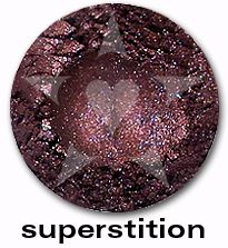 """Superstition is a deep indigo purple shade with sparkles of blue and garnet. From Aromaleigh's metallic mineral eyeshadow collection, """"ALCHEMIE"""", based on v1's """"Elemental Lustre""""."""