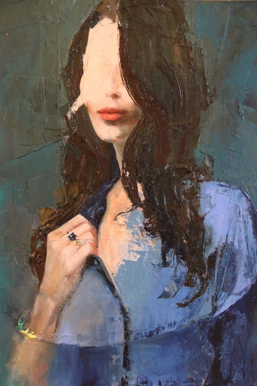"Fanny Nushka Moreaux; Oil 2013 Painting ""Blue Shirt"". No face at all."