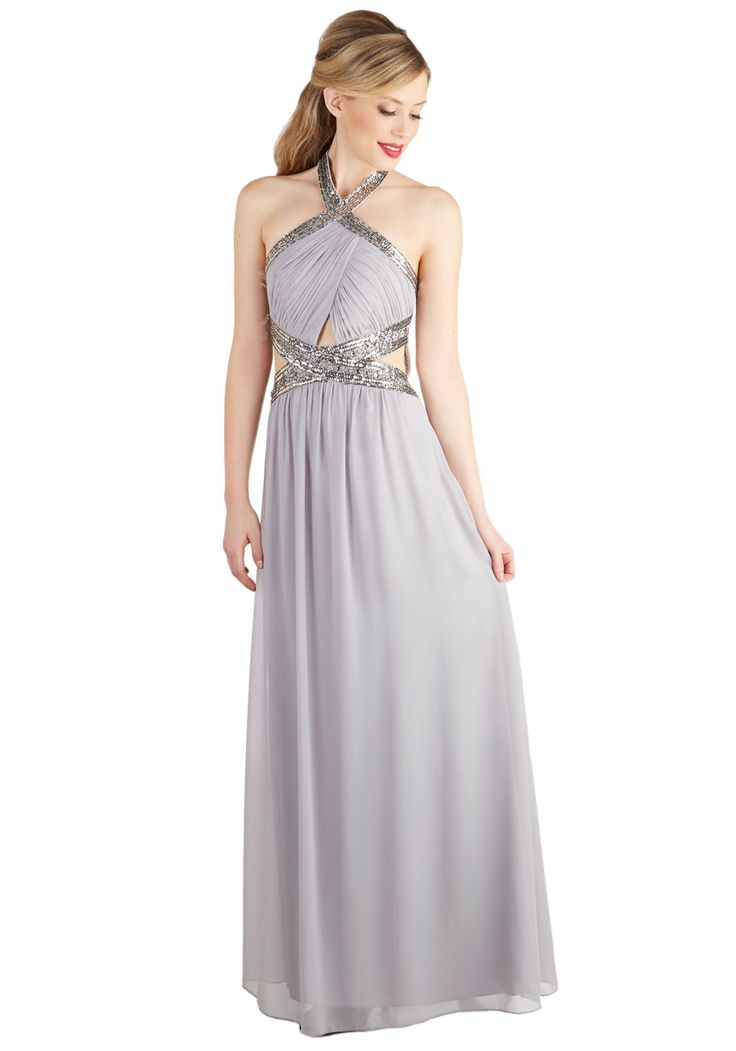 Dancing in the Swoon-light Dress. When the light of the moon catches the silver sequins and pewter beads adorning this gorgeous grey gown, theres no telling how late youll dance the night away! #silver #prom #bridesmaid #wedding #modcloth