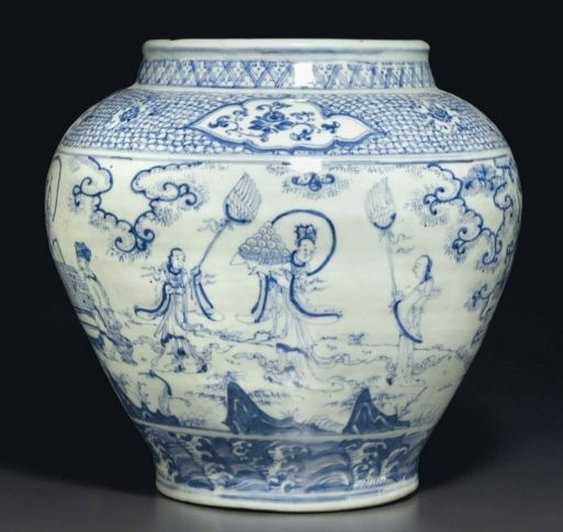 A large blue and white 'Windswept' jar,guan, Ming dynasty, mid-15th century