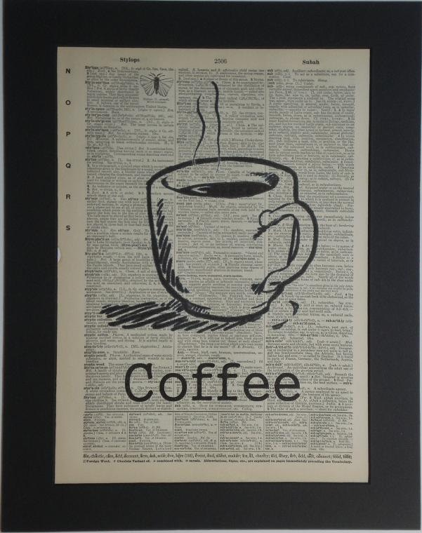 Coffee Cup vintage dictionary print book page art. $8.00, via Etsy.