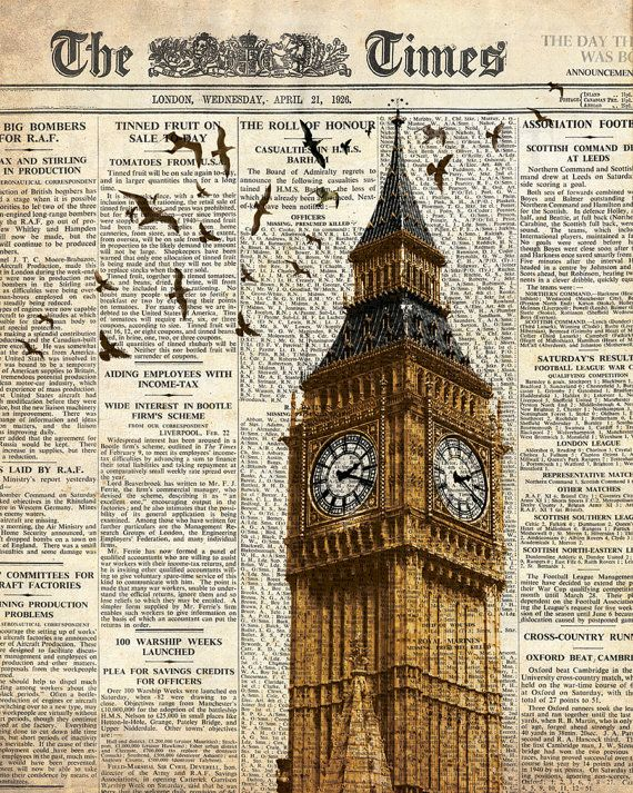 Big Ben and birds on newspaper. London.