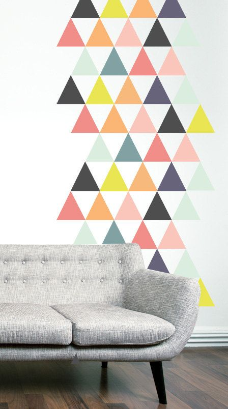 Bright Triangles WALL DECAL by TheLovelyWall on Etsy, $52.00