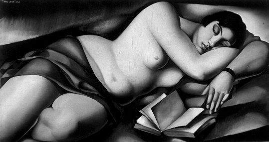 """Reclining Nude With Book,"" (1927 - 1929) - Tamara de Lempicka. 