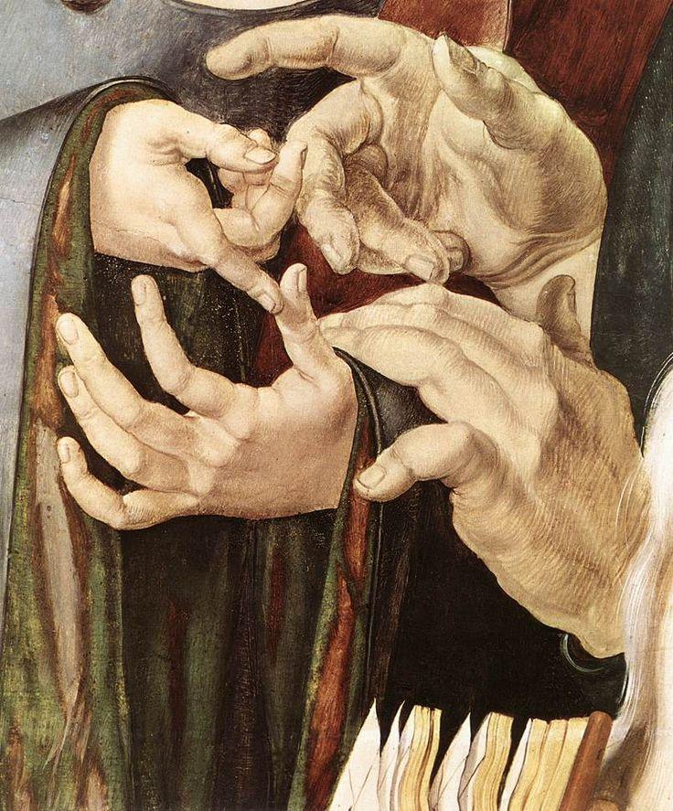 Christ Among the Doctors (detail), Albrecht Dürer, ca. 1506....#hands