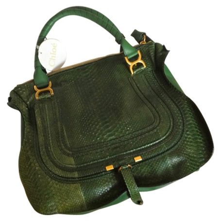 CHLOÉ python green bag