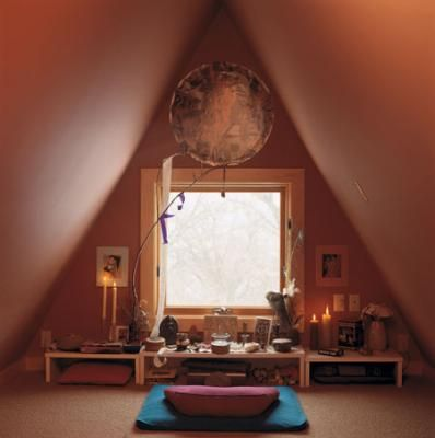 PERFECT for that little room!!! I'm doing it. Even if my window is on the ceiling! I'm doing this!  An example of a  quiet meditating space with altar.