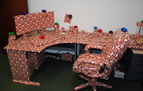 Office Pranks - Wrapping up chair and desk!!
