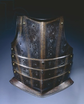 Breastplate from hussar's cuirass, c1580; This style of breastplate from Augsburg or Hungary, with its numerous articulating lames, was probably used by a Hungarian hussar, a type of light cavalryman. The steel plates were originally blued, etched and gilded with strapwork bands. The rows of vertical holes once provided gilt-brass settings for stones or glasspaste jewels. The effect would have suggested the semi-oriental costume and armor of the Near East favored by Polish and Hungarian armies.