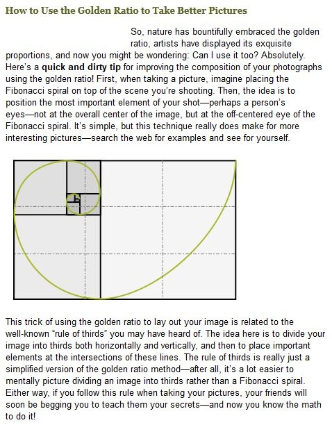 Photography & The Golden Ratio