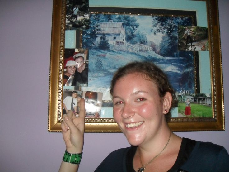 Me with a photo of me from when I was in Biencheri.