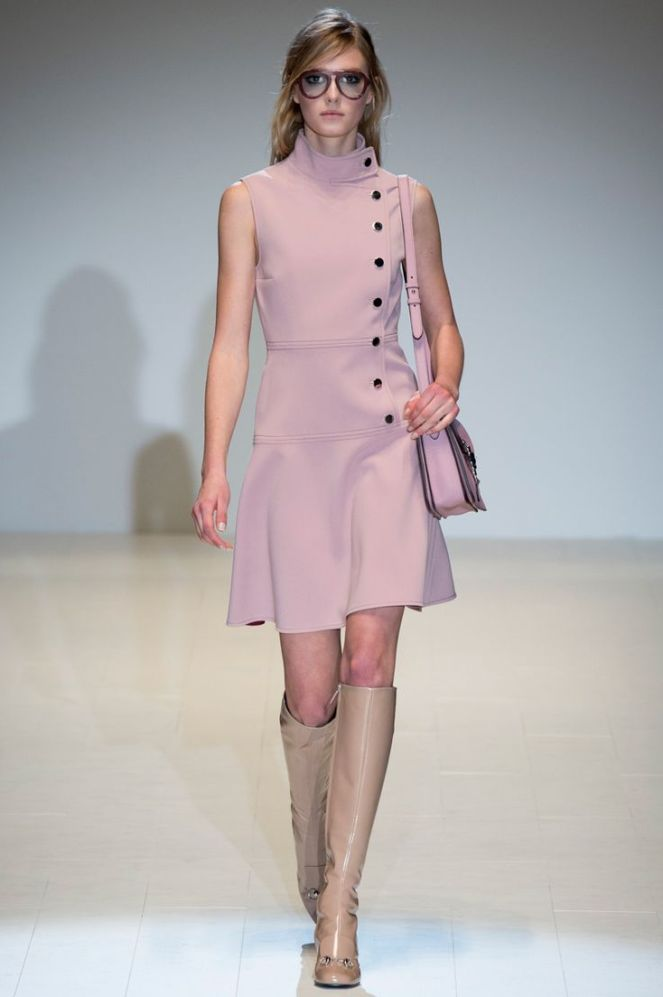 fall 2014 trend colours pink, pink turtlneck dress, brown boots, gucci