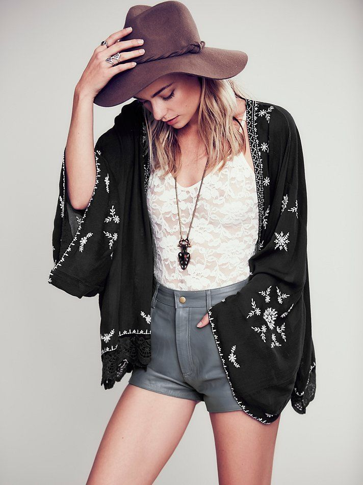 Free People Embroidered Kimono Jacket , $128.00
