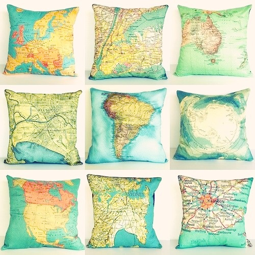 Map Pillows. Creative and unique map throw pillows. These vintage world map pillows are made with organic eco-friendly cotton