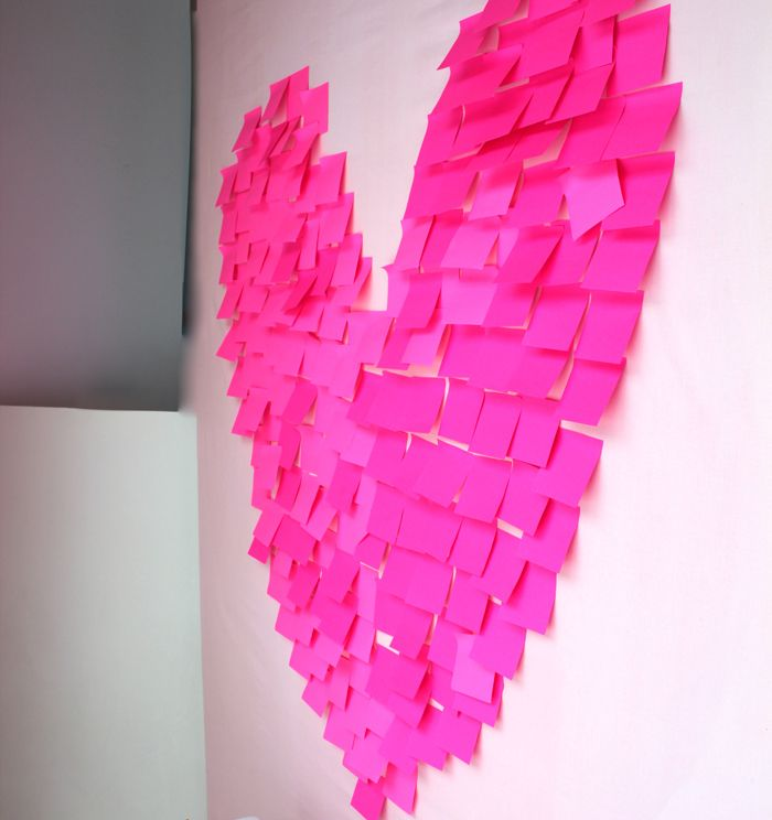 post-it notes, neon pink, display, window display, Blush display, valentine's day, in our window, pink post- it  giant heart, blush style,
