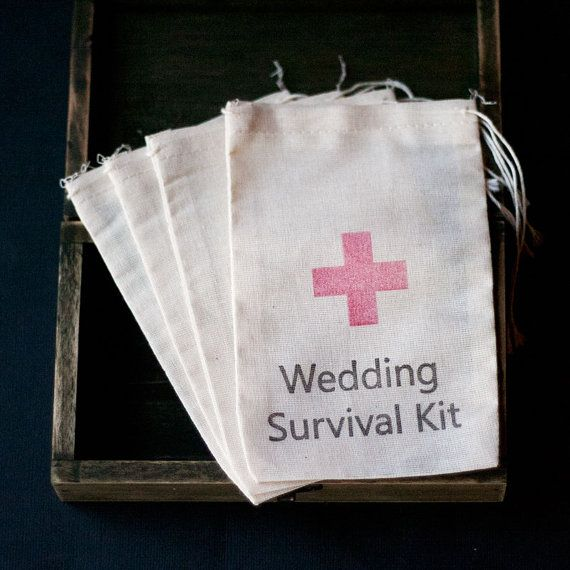 10 x Wedding Survival Kit Muslin Favour by CandybuffetCreations 70p each Fill with  plaster  paracetamol  chewy  sweets  hairband  Tissues Mints Etc
