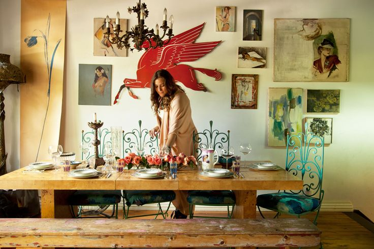 "A Star Designer Invites Us Into Her Dreamy Little BK Cottage  #refinery29  http://www.refinery29.com/foley-and-corinna#slide4  We're dying over your dining room — what kinds of entertaining do you do?  ""I love a huge dinner party — we do a lot of entertaining and dinner parties; BBQs in the backyard are my favorite. We have kids and we have a lot of friends with kids, so I have gotten used to lots of friends, lots of kids, great food, and delicious cocktails... nothing is better. They can ..."