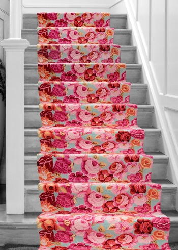 Dash and Albert Bed of Roses carpeted staircase