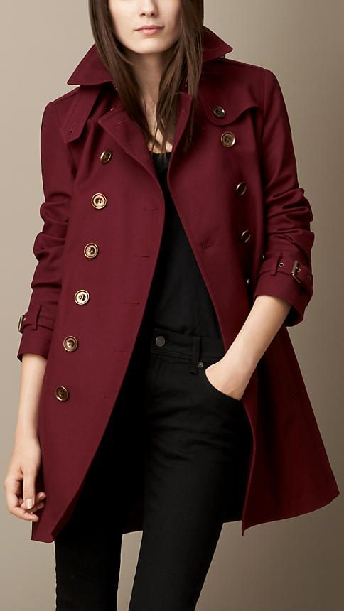 Burgundy Winter Coat 2015 Arrivals Mid-Length Cotton Poplin Trench Coat Burberry Stretch Cotton Trench Coat
