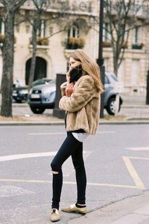 fur + skinnies #streetstyle #winter #style