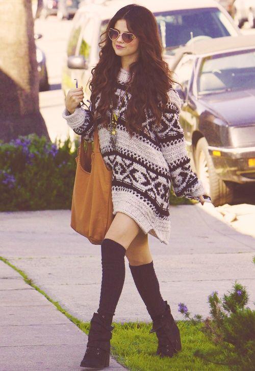 Oversized sweater as a dress. Selena does it best.