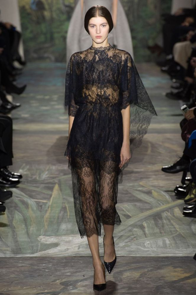 Valentino haute couture 2014, lace dress, black lace, black lace dress