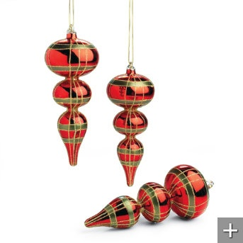 Set of Three Christmas Plaid Glass Finial Ornaments
