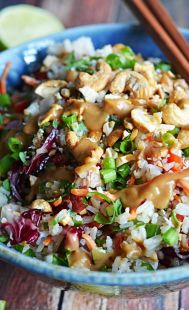 Thai Cashew Coconut Rice with Ginger Peanut Dressing.  This rice salad is seriously addictive and always a huge hit at potlucks!  Pasta sala...