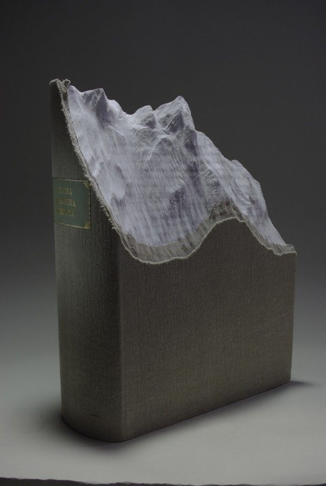 New Carved Book Landscapes by Guy Laramee - Peaks