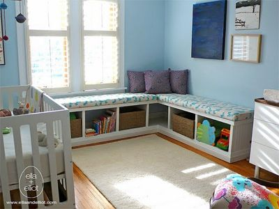 Turn bookshelves into window benches for the kids.  www.wholesomehomes.net
